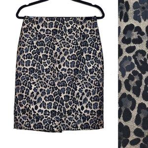 ANN TAYLOR Leopard Animal Print Pencil Skirt 2